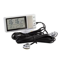 Часы, термометр наружный/внутренний, прозрачный дисплей, крепление на присоске