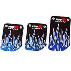 Накладки декоративные на педали 507 черные+синее пламя