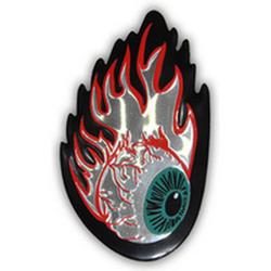 Наклейка металлизированная ПЛАМЯ глаз 23784 6,0x9,5 см на двухстороннем скотче хром (4шт.)