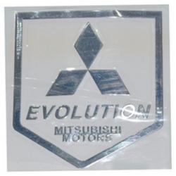 """Наклейка (вырезанная) """"EVOLUTION MITSUBISHI MOTORS"""" наружная, (цвет хром), 23851 4,3х5,0 см"""