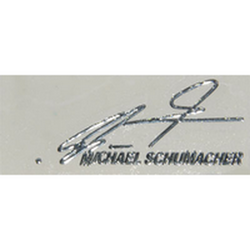 "Наклейка (вырезанная) ""MICHAEL SCHUMACHER"" наружная, (цвет хром), 23866 4,7х2,2 см"