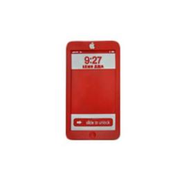 Коврик противоскользящий 14,5x8 см с надписью iPhone с бортиком красный