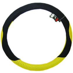 """Оплетка на руль 1016A M """"сетка"""" желтая  + черный велюр """"спорт"""""""