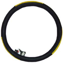 """Оплетка на руль 2003 M черная+желтый пластик вставка сверху """"гладкая"""""""