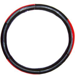 """Оплетка на руль 2003 L черная+красный пластик вставка сверху """"гладкая"""""""
