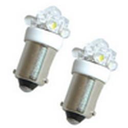 Лампочки светодиодные T10 BA9S-06 оранжевые с цоколем 5 LED усиленные 12В (1шт.) уп.100 шт.